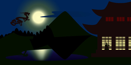 moonshine: An illustration of asian dragon flying in the moonlight to palace. Night scenery
