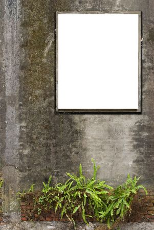 White canvas frames are hanging on old concrete wall. photo