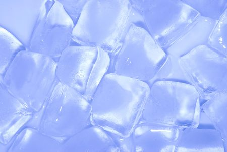 ice cube stack in blue background photo