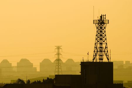 base station of cell phone under sunset, wireless communication. Stock Photo - 5492540