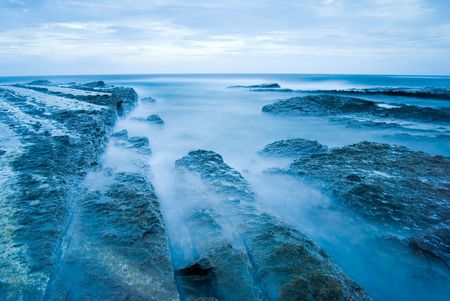 Rocky Seacoast, long time exposure, Taiwan, East Asia 免版税图像