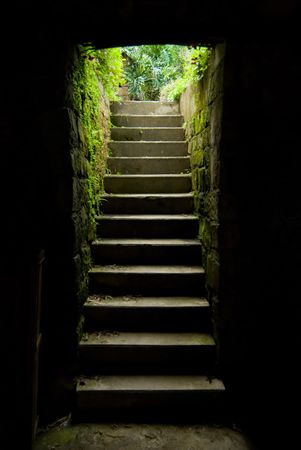 stairway up to outdoor, Concept of success, freedom, escape, opportunity or exit Stock Photo - 5570598