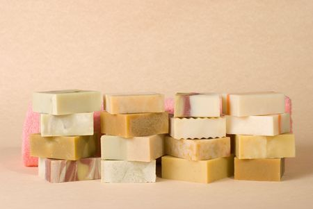 natural soap: group of handmade soap with herbal material, soap stack.