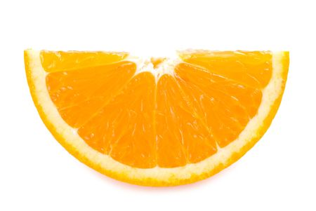 piece of fresh orange fruit on white background photo