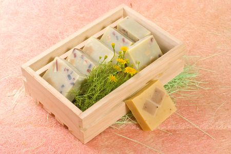 homemade soap put in wooden box photo