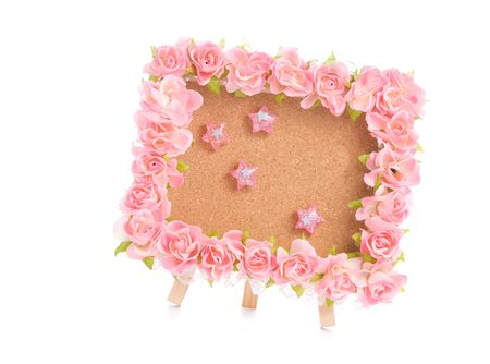 notice board with pink flower and lovely thumbtack Stock Photo - 6617663