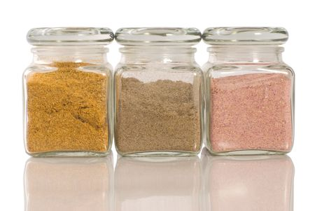 dye powder: Herb powder in glass, many kinds of herb powder. (Lavender, Calendula, and Chamomile) Stock Photo