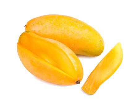 exotic fruits: delicious mango fruit and slice on white background, tropical fruit. Stock Photo