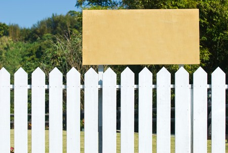 Blank wooden board for rent or sell estate photo