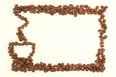 coffee crop: Coffee cup pattern make up by coffee bean on card paper