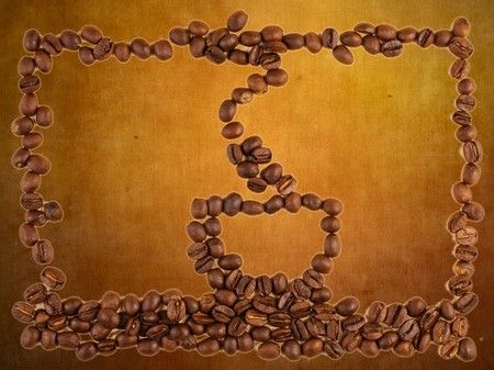 Coffee beans and cup pattern on blank grungy background photo