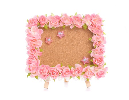notice board with pink flower and lovely thumbtack photo