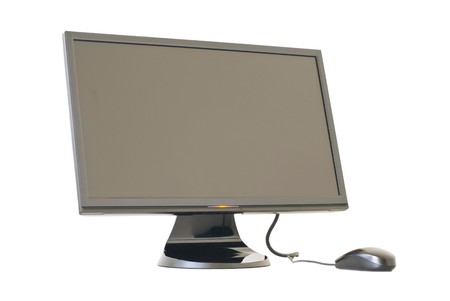Isolated Monitor and mouse on white background photo
