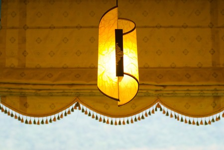 lampshade: Art light with lampshade decoration near the window