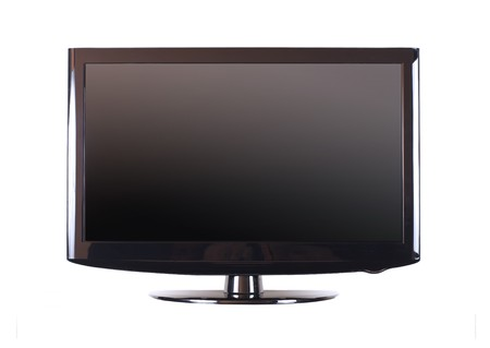 plasma monitor: Isolated modern panel television on white background Stock Photo