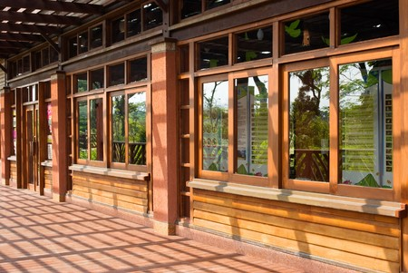 Traditional Chinese wooden building with series windows photo