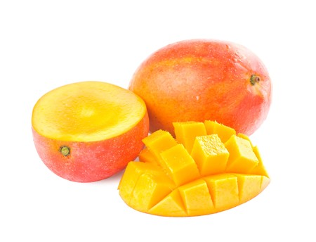 mango fruit: Fresh delicious mango fruit and slice isolated on white background Stock Photo