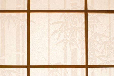 Handmade white paper with bamboo pattern used to decoration wooden window. Traditional Japanese paper for window use. photo