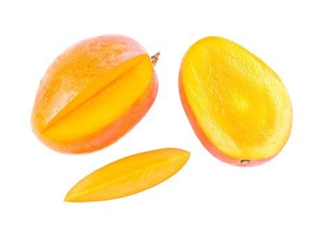 green mango: Fresh delicious mango fruit and slice isolated on white background Stock Photo