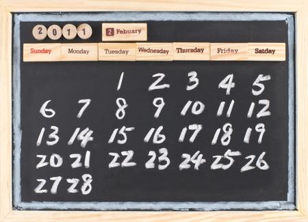 hand drawing 2011 Febuary calendar, monthly calendar of 2011. photo