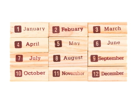 Month words print on wood texture, twelve months in one year. photo
