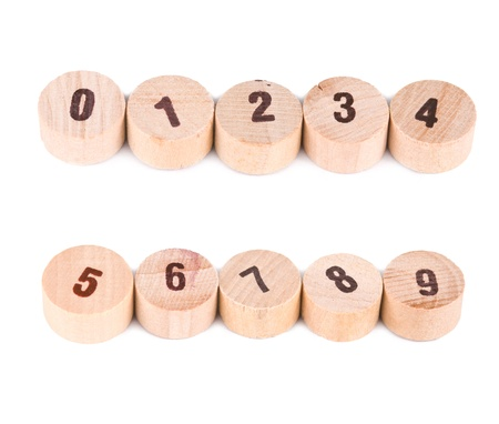 Numbers print on cylinder wood, from zero to nine. Stock Photo - 8367377
