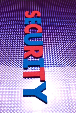 security word on blue neon background, part of a series of business words Stock Photo - 8367384