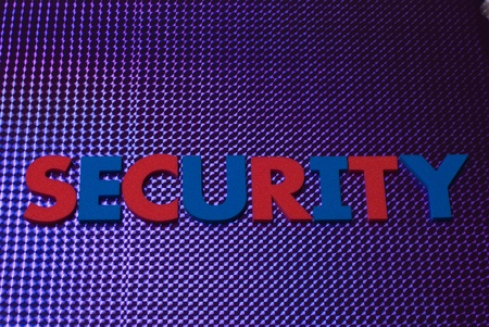 security word on blue neon background, part of a series of business words Stock Photo - 8367385