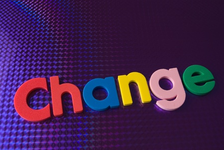 colorful change word on blue neon background, part of a series of business words Stock Photo - 8367381