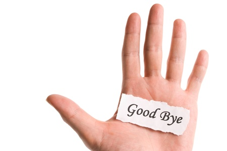 good bye: Good bye word in hand, word on piece tear paper Stock Photo
