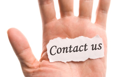 contact us: contact us, word in hand, word on piece tear paper