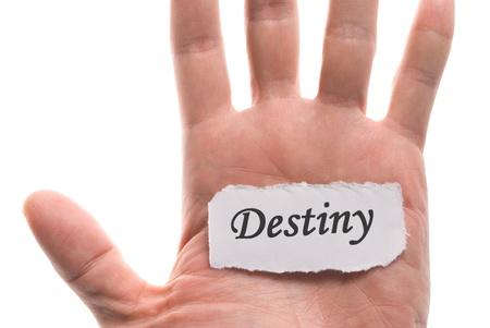 destiny: Destiny word in hand, word on piece tear paper