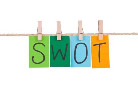 swot: FODA, palabras coloridas colgar en cuerda por clavija de madera Foto de archivo