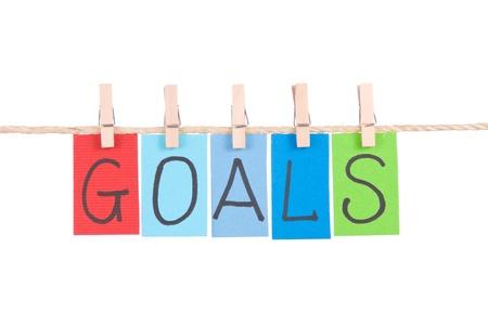 goals: Ziele, h�ngen bunte W�rter Seil by h�lzerner Pflock