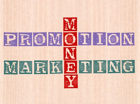 money, promotion and marketing word stamped on wooden background. words collection series. Stock Photo - 8428250