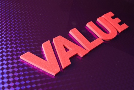 value word on blue neon background, part of a series of business words Stock Photo - 8428261