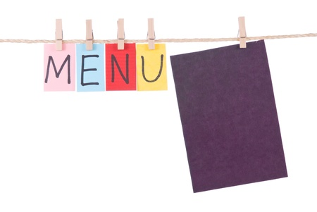 Menu, Colorful words hang on rope by wooden peg photo