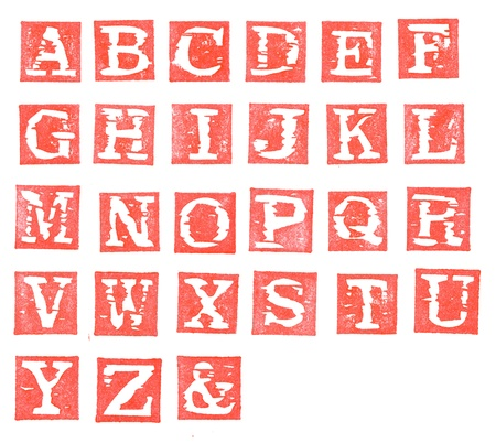 Isolated red alphabet stamp, all letters with white background photo