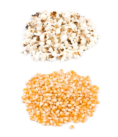 Pop corn, before and after pop, ingredient and product. photo