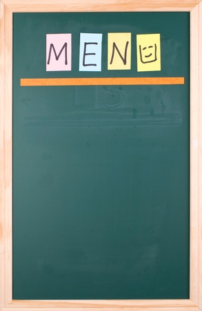 Menu, colorful word on blank blackboard for  design Stock Photo - 8947341