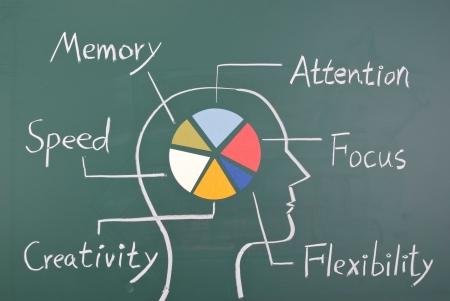 psicologia: Concepto de capacidad de seis en el cerebro humano.  Gr�fico con coloridos gr�fico en la pizarra