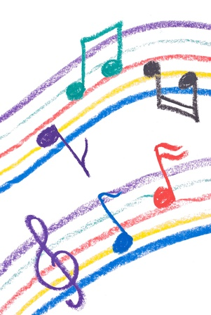 music notation: Colorful music notation drawing on white, isolated musical notation