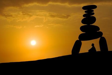 Face huge stress, meditation under sunset, Zen concept. Stock Photo - 9049660