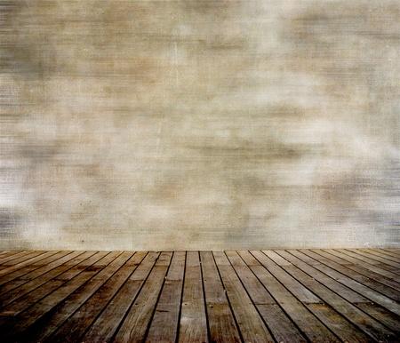 holzboden: Grunge Mauer und Holz get�felte Floor, interior of a Room. Lizenzfreie Bilder