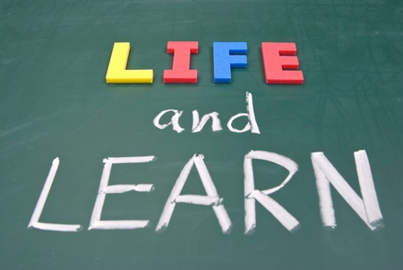 Life and learn, lifestyle words on blackboard. Stock Photo - 9049673