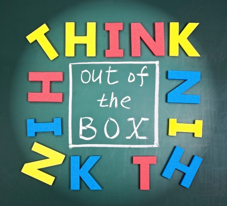 think out of the box: Think out of box, colorful words on blackboard.