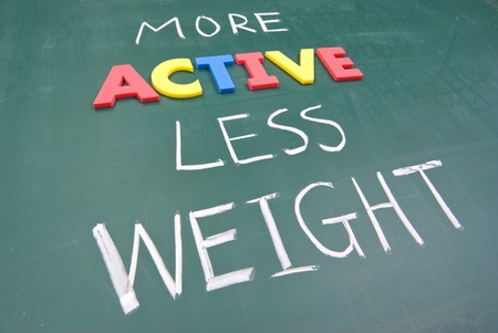 More active less weight, healthy concept on blackboard. Stock Photo - 9185969