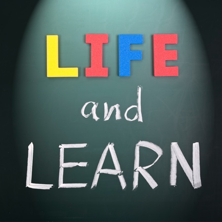 Life and learn, lifestyle words on blackboard. Stock Photo - 9186007