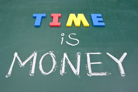 Time is money, business words on blackboard. photo