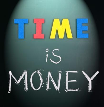 Time is money, business words on blackboard. photo